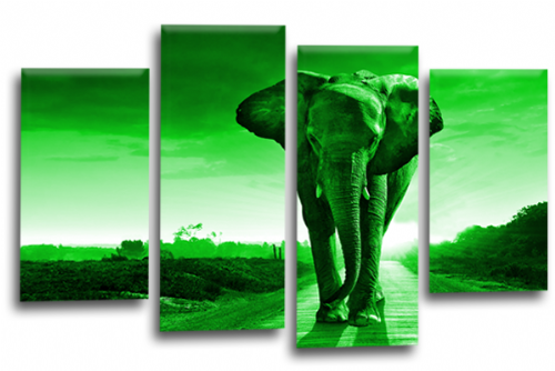 Sunset African Elephant Green Canvas Wall Art Picture Print